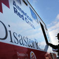 People receive free food from the American Red Cross on November 14, 2012 in the Queens borough of New York City.