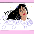Illustration of Brown woman behind purple text and flower on white background surrounded by pink border
