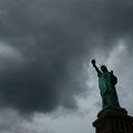 Statue of Liberty in cloudy sky