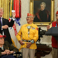 President Donald Trump, three Navajo Code Talkers