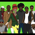 Black woman and men in red and white and black and green and brown clothing in front of green background