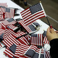 Mini American flags on a table