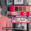 "Lee Chin. Puerto Rican man faces camera, on-screen graphics read, ""White = Power + Desirability"""
