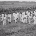 Black and white photo of young Black boys in striped shirts and pants, working in a field