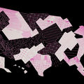 A fractured map of the United States with pink, white and black shaded and patterned sections on a black background