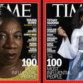 Black woman in yellow shirt in front of black background with red border and behind white and yellow text; Black woman in grey and blue and green dress in front of black background with red border and in front of white and grey text