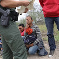 Unaccompanied immigrant children detained by Border Patrol agent along the Texas-Mexico border.