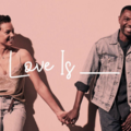 Black woman with brown hair in light blue jeans and pink tank top holds hand of Black man with black hair in dark blue denim shirt and pants and light blue jean jacket in front of pink background and behind white text