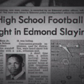 Black-and-white image of a newspaper article with black text featuring image of a Black teenager in a suit