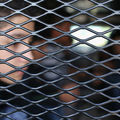 profile of a boy inside a vehicle cage