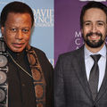 Wayne Shorter in black outfit with gold necklace and black and grey scarf in front of light blue wall; Lin-Manuel Miranda in grey suit with navy tie in front of purple wall