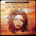 Illustration of Lauryn Hill on brown school desk below brown etched text and yellow pencil