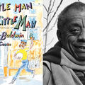 Illustration of Black child in blue and yellow clothing on brown sidewalk in front of orange building; black-and-white photograph of James Baldwin in scarf and coat in front of trees