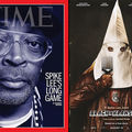 Split image. In one, brown man Spike Lee wears clear glasses frames and black and white clothing on cover of red-framed Time magazine. In second, a brown man wears a white hood that covers his face, brown leather jacket and holds an Afro pick.