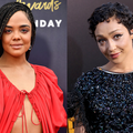 Tessa Thompson with black dreadlocks in red blouse in front of dark grey wall with white and gold text; Ruth Negga with black cropped hair in black dress in front of black wall with yellow text