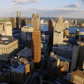 An overhead photo of the Detroit skyline
