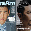 John Cho in grey suit with blue and white shirt on dark grey background behind light blue and white text; John Cho in white shirt on grey background in front of white text