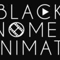 """White text reading """"BLACK WOMEN ANIMATE"""" with play button logo and film reel embedded in letters on black background"""