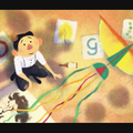 """Tyrus Wong. Illustration of Asian child smiling in white shirt and black pants on brown floor near multicolored letters spelling """"google"""" and white paper with multicolored illustrations"""