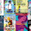 """Two rows of four books, """"A Very Large Expanse of Sea, """"Hurricane Child,"""" """"Girls Resist,"""" """"Go Show the World,"""" """"My So-Called Bollywood Life,"""" """"Drawn Together,"""" The Poet X,"""" """"Memphis, Martin and the Mountaintop."""""""