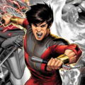 Shang-Chi. Illustration of Asian man in red and black outfit in front of black-and-white illustrations of other supernatural beings