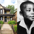 Brown and yellow house with green lawn and brown cement walkway in front of green trees and blue sky with white clouds; the Reverend Dr. Martin Luther King Jr. Black-and-white photograph of Black boy in formal attire in front of grey background