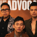 "Niko Santos, Jake Choi and Vincent Rodriguez III. Three Asian men in black and white and red and brown clothing pose in front of orange and brown background and grey text that spells ""THE ADVOCATE"""