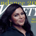"Mindy Kaling. South Asian woman with black hair and shirt posts on magazine cover in front of grey background and behind white text spelling ""VARIETY"" and yellow text spelling ""SUNDANCE 2019"""