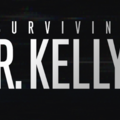 "Grey text spells ""SURVIVING R. KELLY"" on black background with scrambled video"