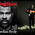 """Jordan Peele. Black-and-white magazine cover with Black man on black background behind white headlines and red text that spells """"Rolling Stone""""; Black man in black and orange sweater and black pants holds white rabbit while surrounded by white rabbits"""
