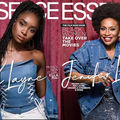 "KiKi Layne and Jenifer Lewis. Black woman with black dredlocs in blue top and white pants in front of dark red curtain and white text spelling ""ESSENCE""; Black woman with black afro in blue jacket in front of red curtain and white text spelling ""ESSENCE"""