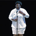 Porsha Olayiwola. Black woman with black hair in white outfit performs behind black microphone and stand in front of black background