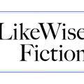 """Black text spells """"LikeWise Fiction"""" in front of white background and inside of rectangular blue border."""