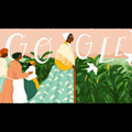 """Sojourner Truth. Illustration of Black woman in yellow shirt and green and white dress and white headwrap leading Black women in multicolored clothing in front of green shrubs and pink house and sky and white text that spells """"GOOGLE."""""""