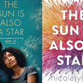 """Yara Shahidi, Charles Melton and Nicola Yoon. Asian and Indigenous man in navy suit and white shirt sits next to Black woman in blue dress, both with black hair, in front of teal background and under yellow text that spells """"THE SUN IS ALSO A STAR"""""""