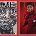 "Nelson Makamo and Cicely Tyson. Greyscale illustration of black child in red glasses behind black text reading ""TIME"" and white text; Black woman in red outfit in front of red background and red text that spells ""TIME"" and white text"