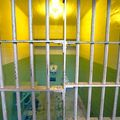 White prison bars with bright, florescent light shinning in the background.