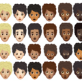 Emojis of different Afro emojis of multiple skin tones and colors line up against a white background