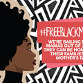"""Illustration. Black woman with Afro black turtle neck and sign saying """"we're bailing out Black mothers..."""""""