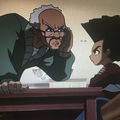 The Boondocks. Animation. Black child with Afro listening to older Black man with gay hair.