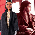 Rosa Parks. Black woman in Barbie doll form and a black and white photo.