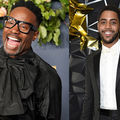 Billy Porter and Jharrel Jerome. Two Black men, one middle age, one younger, wearing black, holding Emmy trophy.