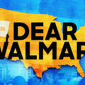 """Yellow image of the United States with blue images of protest behind it and the words """"Organize"""" and """"Dear Walmart."""""""