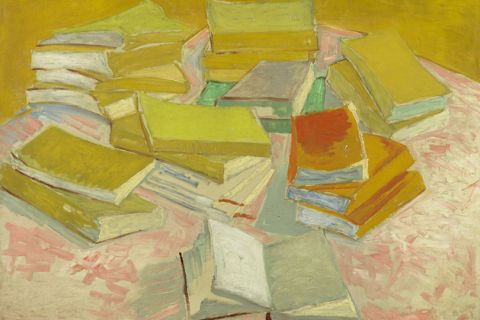 "Vincent van Gogh's ""Piles of French Novels."" Pastel rendering of many hardcover books"