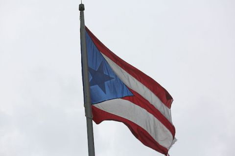 Puerto Rican flag waving in the air