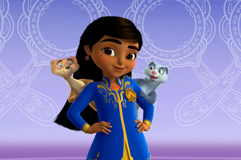 preschool cartoon character, Mira, a young girl from India, dressed in a royal blue sheath, smiles into a camera with her mongoose companions (one tan, one gray with glasses) on each of her shoulders