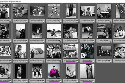 Black and white contact sheets from Johnson Publishing featuring Rosa Parks, Eartha Kitt, Arthur Ashe and more.