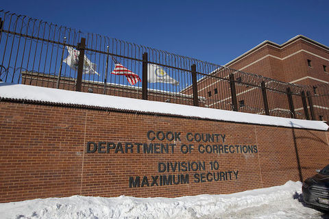 The brick exterior of the Cook County Jail in Chicago