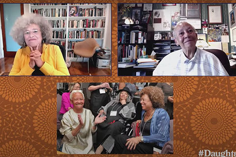 Daughters Of. Screenshot of Angela Davis, Nikki Giovanni and a photo showing Giovanni, Davis and Toni Morrison together.