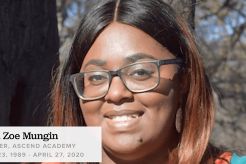 Rana Zoe Mungin. Young black woman, with glasses smiles into the camera.